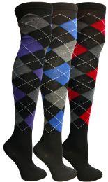 24 Bulk Yacht & Smith Womens Over The Knee Referee Thigh High Boot Socks Argyle Print