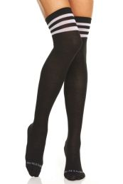 24 Bulk Yacht & Smith Womens Over The Knee Referee Thigh High Boot Socks Black With White Stripes