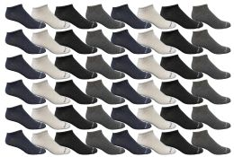 48 Bulk Yacht & Smith Mens Thin Low Cut Ankle No Show Socks, Comfortable Lightweight Assorted Colors