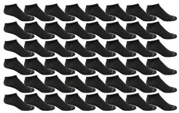 48 Bulk Yacht & Smith Men's Light Weight Breathable No Show Loafer Ankle Socks Solid Black
