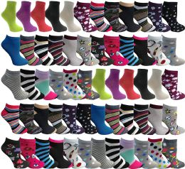 48 Bulk Yacht & Smith Womens Thin Low Cut Ankle No Show Socks, Comfortable Lightweight Assorted Prints