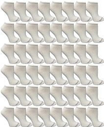 48 Bulk Yacht & Smith Women's Light Weight No Show Low Cut Ankle Socks Solid White