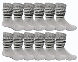 24 Bulk Yacht & Smith Mens Heavy Cotton Slouch Socks, Solid Heather Gray