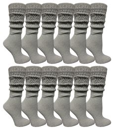 24 Bulk Yacht & Smith Womens Heavy Cotton Slouch Socks, Solid Heather Gray