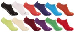 36 Bulk Yacht & Smith Assorted Colors Rubber Grip Bottom Cotton Slipper Socks With Terry Cushion Sole