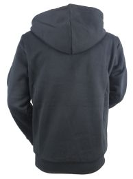 12 Bulk Boys Long Sleeve Light Weight Fleece Zip Up Hoodie In Black