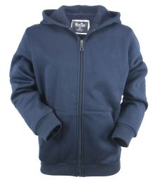 12 Bulk Boys Long Sleeve Light Weight Fleece Zip Up Hoodie In Navy