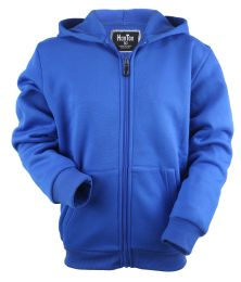 12 Bulk Boys Long Sleeve Light Weight Fleece Zip Up Hoodie In Royal Blue