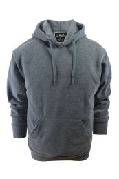 24 Bulk Mens Solid Pullover Fleece Lined Hoodie Sweater In Dark Grey
