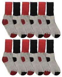 36 Bulk Yacht & Smith Cotton Thermal Crew Socks , Cold Weather Kids Thermal Socks Size 6-8