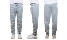 24 Bulk Mens Classic Open Bottom Fleece Sweatpants Assorted Sizes , Heather Gray