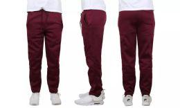 24 Bulk Mens Classic Open Bottom Fleece Sweatpants Assorted Sizes , Burgundy
