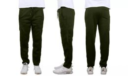 24 Bulk Mens Classic Open Bottom Fleece Sweatpants Assorted Sizes , Olive