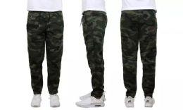 24 Bulk Mens Classic Open Bottom Fleece Sweatpants Assorted Sizes , Camo