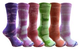 24 Bulk Yacht & Smith Womens Ring Spun Cotton Tie Dye Crew Socks Size 9-11 Super Soft Arch Support