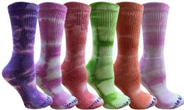 6 Bulk 6 Pairs of Mens Tie Dye Cotton Colorful Soft Crew Socks, Desert Camo Colors Boot Sock Packs, Bulk