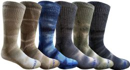 6 Bulk 6 Pairs of Womens Tie Dye Cotton Colorful Soft Crew Socks, Bright Colorful Boot Sock, Bulk