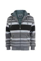 12 Bulk Mens Stripe Design Fleece Lined Zip Up Hoodie Dark Grey