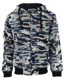 12 Bulk Mens Camoflage Sherpa Lined Zip Up Hoodie Sweater In Camo Blue