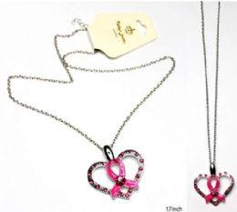 60 Bulk Breast Cancer Awareness Necklace