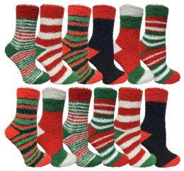 24 Bulk Yacht & Smith Christmas Fuzzy Socks , Soft Warm Cozy Socks, Size 9-11