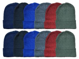 48 Bulk Yacht & Smith Kids Winter Beanie Hat Assorted Colors Bulk Pack Warm Acrylic Cap