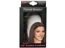 72 Bulk Mia Beauty 1/2in Medium Brown Fishtail Braided Headband