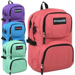 24 Bulk Trailmaker Double Compartment Backpack with Padding Girl Colors