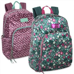 24 Bulk 17 Inch Printed Velvet Backpacks Girls