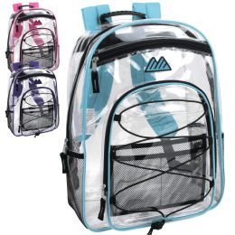 24 Bulk 17 Inch All Terrain Clear Bungee Backpack 4 Colors