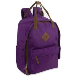 24 Bulk 17 Inch Twin Handle Squared Backpack Purple