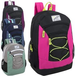 24 Bulk Urban Sport 18 Inch Multi Pocket Bungee Backpack Girls Assortment