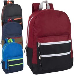 24 Bulk Trailmaker 17 Inch Color Block Backpack 4 Colors