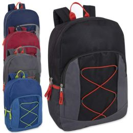 24 Bulk 17 Inch Bungee Backpack With Side Pocket 5 Colors