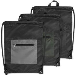 48 Bulk Front Zippered Drawstring Backpack 3 Colors