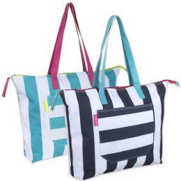 24 Bulk Cabana Stripe Beach Tote Bag 15 Inch