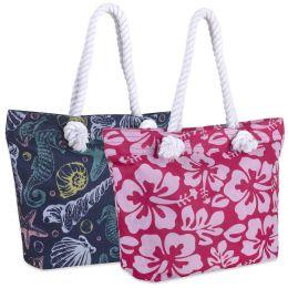 24 Bulk Printed Beach Rope Tote Bag 15 Inch