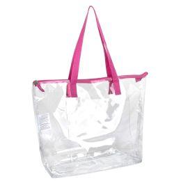 24 Bulk Clear Tote Bag In Pink
