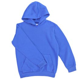 12 Bulk Boys Long Sleeve Sherpa Lined Hoody Sweater In Royal Blue Color