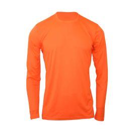 60 Bulk Mens Base Layer Crew Neck Long Sleeve Shirt In Orange