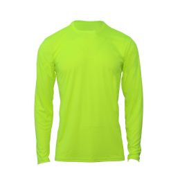 60 Bulk Mens Base Layer Crew Neck Long Sleeve Shirt In Yellow