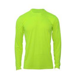 60 Bulk Mens Base Layer Crew Neck Long Sleeve Shirt Plus Size In Yellow