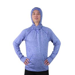 12 Bulk Mens Pullover Marled Sweatshirt With Neck Extension And Face Cover In Royal Blue
