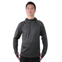 12 Bulk Mens Pullover Marled Sweatshirt With Neck Extension And Face Cover In Dark Grey