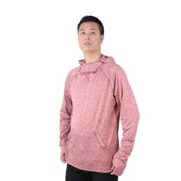 12 Bulk Mens Pullover Marled Sweatshirt With Neck Extension And Face Cover In Burgandy