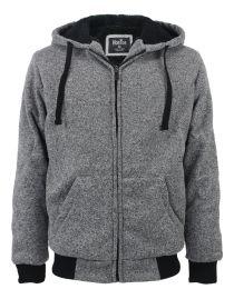 12 Bulk Mens Marled Zip Up Fleece Lined Hoody Light Grey