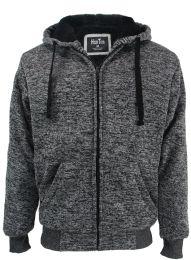 12 Bulk Mens Marled Zip Up Fleece Lined Hoody Plus Size In Dark Grey