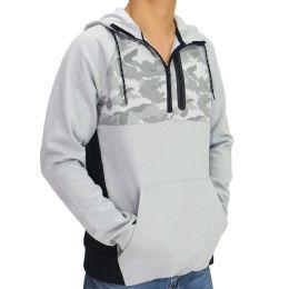 12 Bulk Mens Camo Colorblock Pullover Hoody In Grey