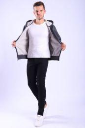 12 Bulk Mens Fleece Lined Full Zip Hoody Sweater In Charcoal