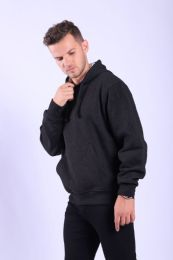 12 Bulk Mens Fleece Lined Pullover Hoody In Black